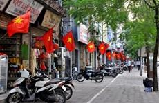 越南国庆节即将来临河内各条街道喜庆气氛浓郁