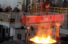 高平省第一批钢坯成功出炉