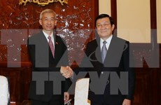 越南国家主席张晋创会见前来辞行拜会的泰国驻越大使潘雅拉克