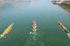 奠边省芒莱镇第二次燕尾船比赛鸣笛开赛