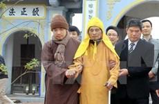 河内市领导向越南佛教协会会长释普惠老和尚拜年