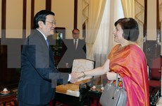 国家主席张晋创:越南一向支持印度向东看政策