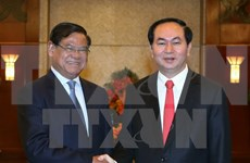 越南国家主席陈大光会见柬埔寨副首相韶肯
