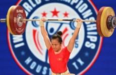 2016年亚洲举重锦标赛:越南举重选手王氏玄获得银牌