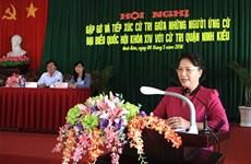 越南国会主席阮氏金银接触芹苴市选民