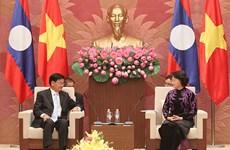 国会主席阮氏金银会见老挝总理通伦