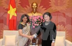 越南国会主席阮氏金银会见联合国常驻越南协调员普拉蒂巴·梅塔