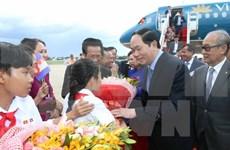 越南国家主席陈大光抵达金边开始对柬埔寨进行国事访问