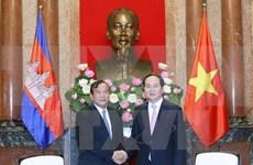 国家主席陈大光会见柬埔寨国务兼外交国际合作部大臣布拉索昆