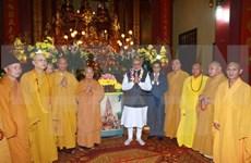 印度总理纳伦德拉•莫迪与越南佛教学院僧尼会面交流