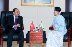 越南政府总理阮春福会见缅甸国家顾问兼外交部长昂山素季