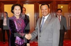 越南国会主席阮氏金银会见柬埔寨参议院主席赛冲