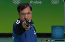 越南射击运动员黄春荣在10米气手枪项目位居世界首位