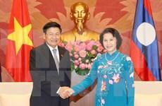 越南国会主席阮氏金银会见老挝总理通论·西苏里
