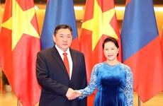 越南国会主席阮氏金银与蒙古国家大呼拉尔主席恩赫包勒德举行会谈(组图)
