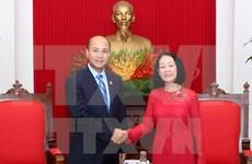 越共中央民运部部长会见柬埔寨青年联合会代表团