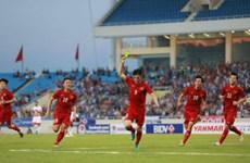 友谊赛:越南男足队2比0击败叙利亚队