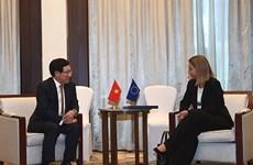 政府副总理兼外长范平明会见欧盟外交和安全政策高级代表莫盖里尼