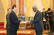 国家主席陈大光接受六国新任驻越大使递交国书
