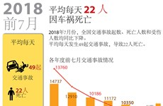 图表新闻:2018年前7月平均每天22人因车祸死亡