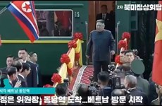 朝鲜最高领导人抵达同登火车站 开始越南之行