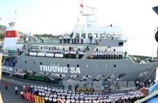 向长沙岛县运送春节礼物的船只起航仪式