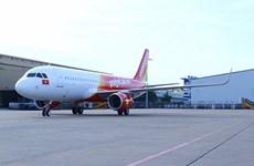 越捷航空公司迎来一架装配鲨鳍小翼的空客A321飞机