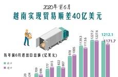 图表新闻:2020年前6月越南实现贸易顺差40亿美元