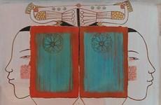 保持社会距离期间的绘画作品在河内亮相