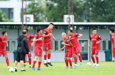越南男足队赛前进行最后一场训练(组图)