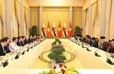 阮富仲与文莱苏丹哈吉·哈桑纳尔·博尔基亚举行会谈