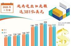 图表新闻:2020年1月份越南进出口总额达381亿美元