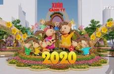 2020年阮慧迎春花街的吉祥物和装饰品准备就绪