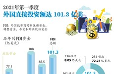 图表新闻:2021年第一季度外国直接投资额达 101.3亿美元