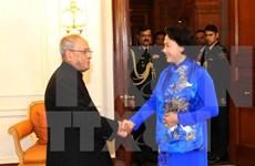 国会主席阮氏金银会见印度总统普拉纳布·慕克吉
