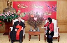 中央民运部部长张氏梅会见前来拜年的河内总教区代表团
