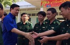 胡志明市市委书记丁罗升走访慰问第7军区第5师及西宁省边防哨