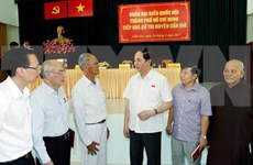 越南国家主席陈大光与胡志明市芹椰县选民接触