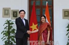 政府副总理兼外长范平明与印度外长斯瓦拉杰举行会谈