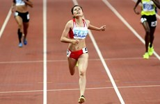 2017亚洲田径锦标赛:越南运动员阮氏玄在女子400米栏决赛夺金