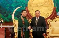 老挝党和国家领导人会见越南党和国家高级代表团