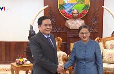 老挝国会主席巴妮·雅陶都会见越南祖国阵线中央委员会主席陈青敏