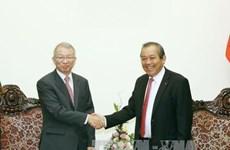 越南政府常务副总理张和平会见韩国大法院院长梁承泰