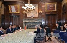 范明正会见日本参议院议长伊达忠一和外务大臣河野太郎