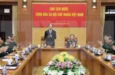 国家主席陈大光在国防部指导工作