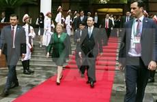 智利总统离开河内前往岘港出席APEC领导人会议周相关活动