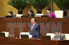 第十四届国会第四次会议:财政部长丁进勇接受国会代表质询