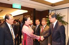 越南国会主席阮氏金银会见对越投资的新加坡企业代表