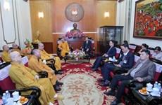 越南祖国阵线中央委员会主席陈青敏会见越南佛教协会代表团