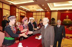 阮富仲总书记会见少数民族模范代表